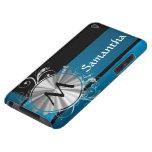 Monograma azul y negro del trullo barely there iPod funda