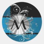 Monograma azul y negro del trullo pegatina redonda