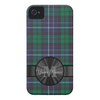 Monograma azul y verde de la tela escocesa de Case-Mate iPhone 4 cobertura