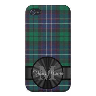 Monograma azul y verde de la tela escocesa de iPhone 4/4S funda
