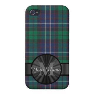 Monograma azul y verde de la tela escocesa de iPhone 4 cárcasas
