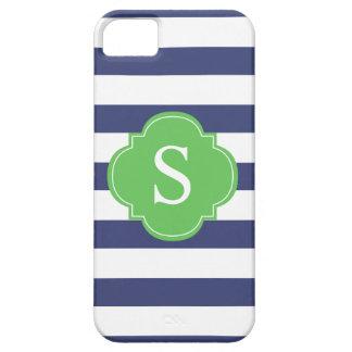 Monograma azul y verde de las rayas funda para iPhone 5 barely there