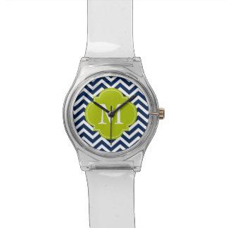 Monograma azul y verde del modelo de zigzag reloj