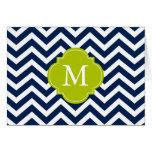 Monograma azul y verde del modelo de zigzags tarjetas