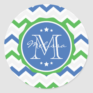 Monograma azul y verde del personalizado de pegatina redonda