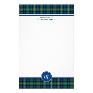 Monograma azul y verde del tartán del clan de papelería personalizada