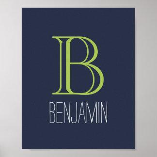 Monograma azul y verde póster