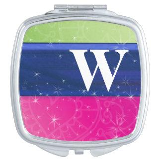 Monograma azulverde del brillo de los colores 80s  espejos para el bolso