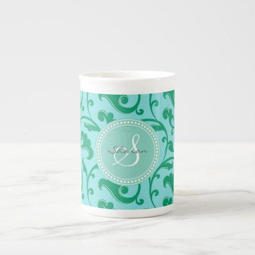Monograma azulverde femenino elegante del estampad tazas de porcelana