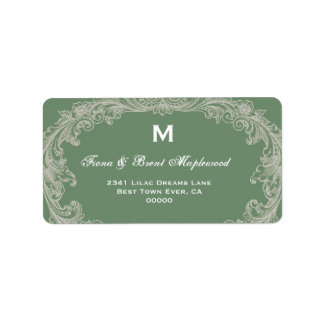 Monograma B456 del vintage de la verde salvia Etiquetas De Dirección