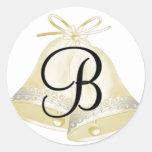 Monograma B de Belces de boda Etiqueta Redonda