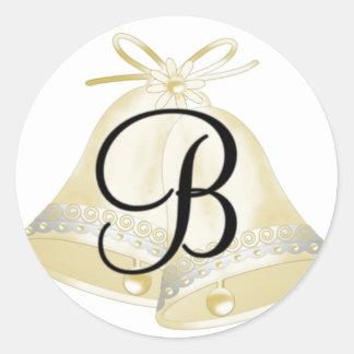 Monograma B de Belces de boda Pegatina Redonda