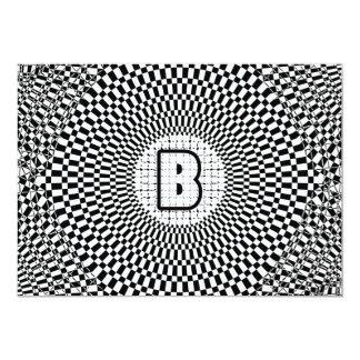 """Monograma B de la ilusión óptica Invitación 5"""" X 7"""""""