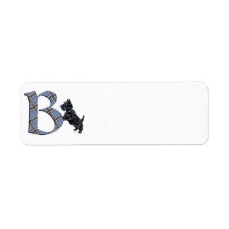 Monograma B de Terrier del escocés Etiqueta De Remite