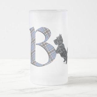 Monograma B de Terrier del escocés Jarra De Cerveza Esmerilada