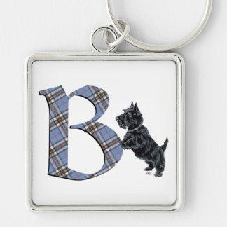 Monograma B de Terrier del escocés Llavero Cuadrado Plateado