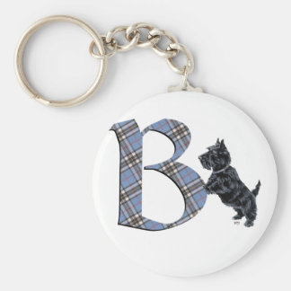 Monograma B de Terrier del escocés Llavero Redondo Tipo Pin