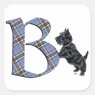 Monograma B de Terrier del escocés Pegatina Cuadrada