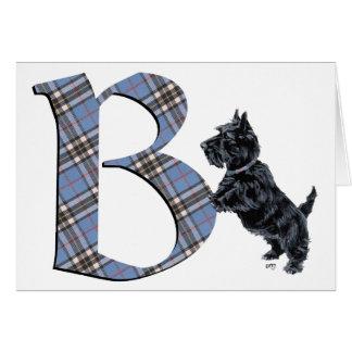Monograma B de Terrier del escocés Tarjeta De Felicitación