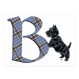 Monograma B de Terrier del escocés Tarjetas Postales