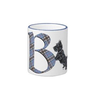 Monograma B de Terrier del escocés Taza De Dos Colores