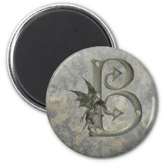 Monograma B del Gargoyle Imán Redondo 5 Cm
