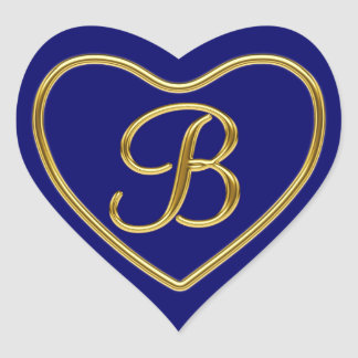 Monograma B en 3D el oro REV1 Pegatina En Forma De Corazón