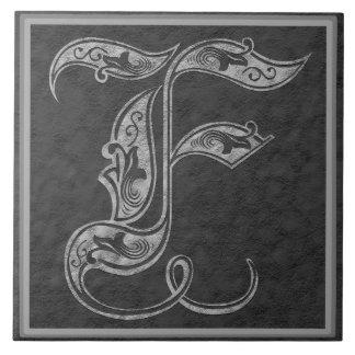 """Monograma baldosa cerámica """"de piedra"""" gris real d azulejo cuadrado grande"""