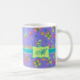 Monograma banal moderno de la mariposa de la taza de café