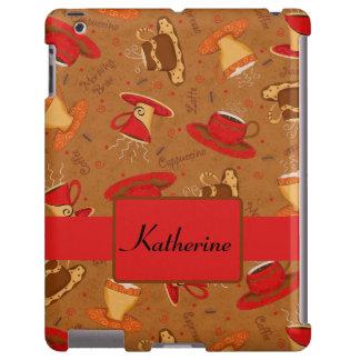Monograma banal rojo marrón del modelo de la taza funda para iPad