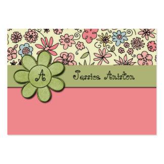 Monograma banal rosado de Flowerchild Tarjeta De Visita