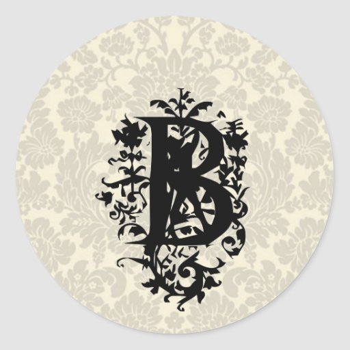 "Monograma barroco adornado de ""B"" Pegatinas Redondas"
