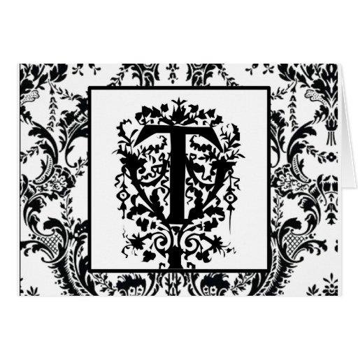"""Monograma barroco adornado de """"T"""" Tarjeta De Felicitación"""
