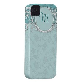 Monograma barroco de lujo de la turquesa del Case-Mate iPhone 4 protector