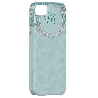 Monograma barroco de lujo de la turquesa del iPhone 5 fundas