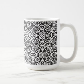 Monograma barroco negro elegante del damasco taza clásica