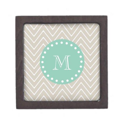 Monograma beige de la verde menta del modelo el |  caja de regalo de calidad