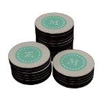 Monograma beige de la verde menta del modelo el |  fichas de póquer
