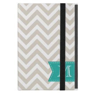 Monograma beige de lino del personalizado de iPad mini carcasa