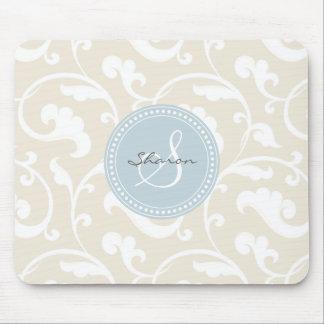 Monograma beige femenino elegante del estampado de alfombrillas de raton