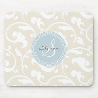Monograma beige femenino elegante del estampado de mousepads