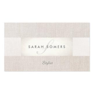 Monograma beige rayado con clase de plata elegante tarjetas de visita