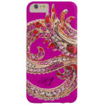 Monograma Bejeweled rosas fuertes bonitas Funda Barely There iPhone 6 Plus
