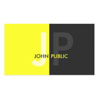 Monograma bicolor moderno básico tarjeta de visita
