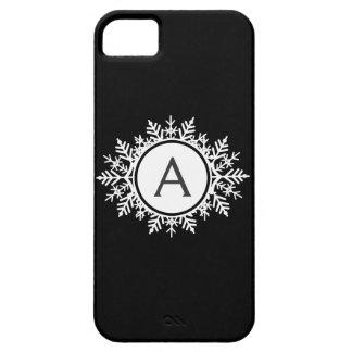 Monograma blanco adornado del copo de nieve en neg iPhone 5 cárcasas