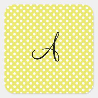 Monograma blanco amarillo de los lunares pegatina cuadrada