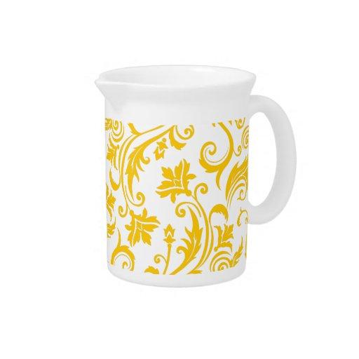 Monograma blanco amarillo del damasco jarra