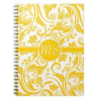 Monograma blanco amarillo del damasco libro de apuntes con espiral