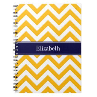 Monograma blanco amarillo oscuro del nombre de los libro de apuntes con espiral