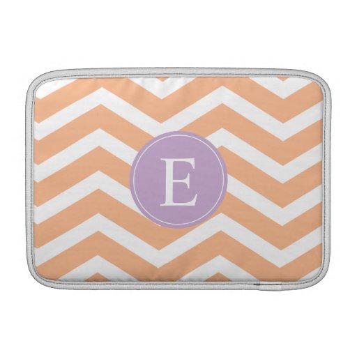 Monograma blanco anaranjado de la púrpura de Chevr Fundas Macbook Air